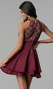 Image of wine red tiered-skirt lace-bodice short party dress. Style: EM-FLD-1000-559 Back Image