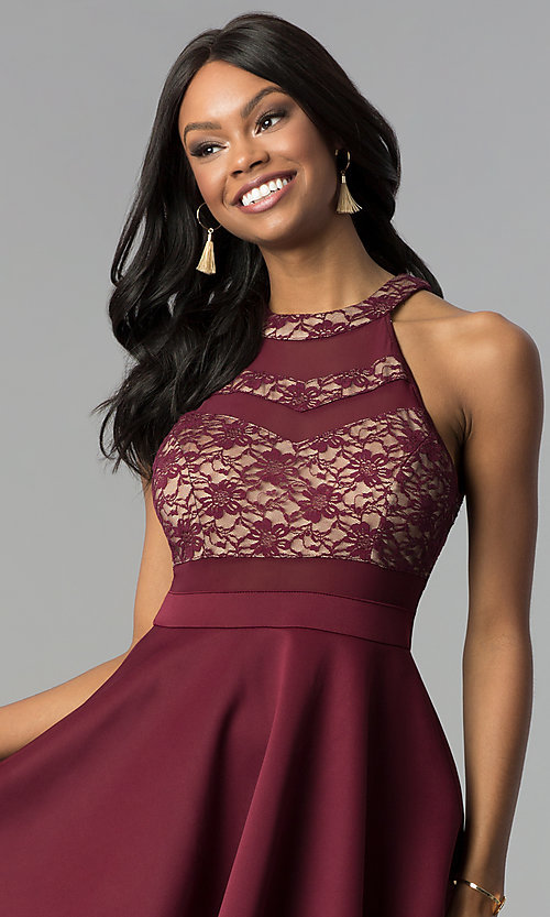 Image of wine red tiered-skirt lace-bodice short party dress. Style: EM-FLD-1000-559 Detail Image 1
