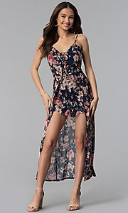 Image of navy and blush floral-print walk-through romper. Style: EM-FSV-3664-425 Front Image
