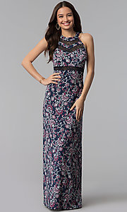 Image of long paisley-print maxi casual dress. Style: EM-COU-3622-435 Front Image