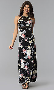 Image of long floral-print black casual maxi dress. Style: EM-COU-3623-003 Front Image