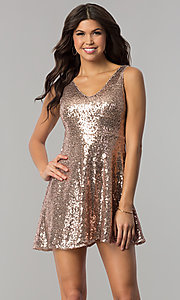 Image of v-neck short sequin holiday party dress with cut out. Style: VE-888-213602 Front Image