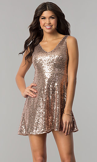 V-Neck Short Sequin Holiday Party Dress with Cut Out