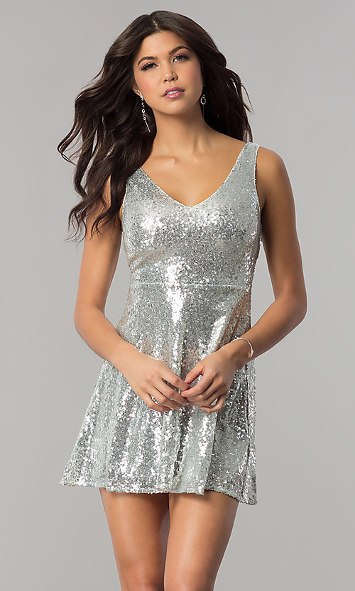 Image of v-neck short sequin holiday party dress with cut out. Style: VE-888-213602 Detail Image 3