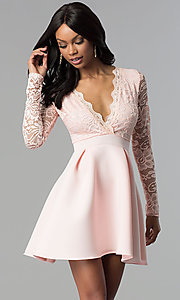 Image of lace and scuba long-sleeve v-neck homecoming dress. Style: DC-D46036 Front Image
