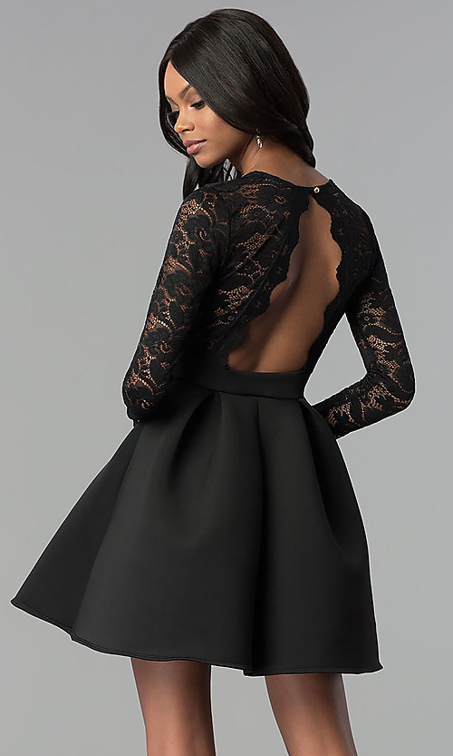 Image of lace and scuba long-sleeve v-neck party dress. Style: DC-D46036 Back Image