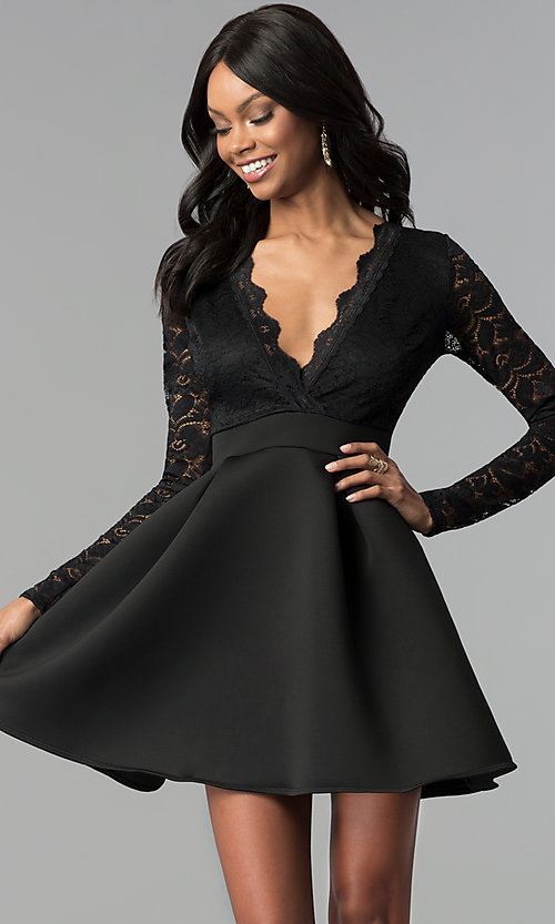 Image of lace and scuba long-sleeve v-neck party dress. Style: DC-D46036 Detail Image 1