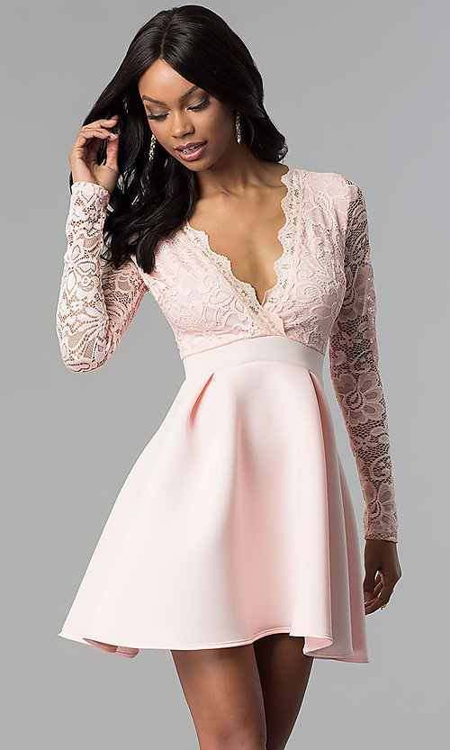 Image of lace and scuba long-sleeve v-neck party dress. Style: DC-D46036 Front Image