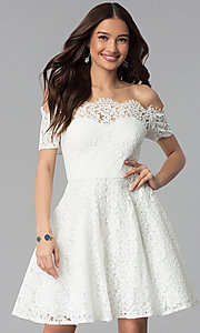 Image of short off-the-shoulder white lace graduation dress. Style: DMO-J320467 Front Image