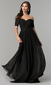Image of off-the-shoulder long chiffon prom dress with lace. Style: NA-A061 Front Image