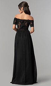 Image of off-the-shoulder long chiffon prom dress with lace. Style: NA-A061 Back Image