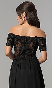 Image of off-the-shoulder long chiffon prom dress with lace. Style: NA-A061 Detail Image 2