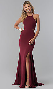 Image of long prom dress with lace-up back. Style: NA-C026 Front Image