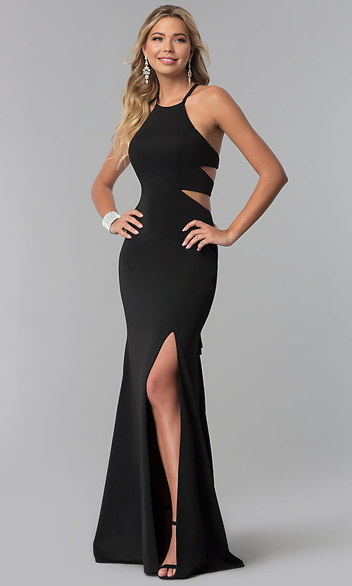 Image of long prom dress with lace-up back. Style: NA-C026 Detail Image 2