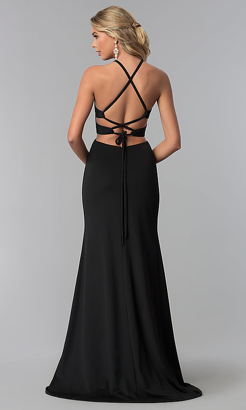 Image of long prom dress with lace-up back. Style: NA-C026 Detail Image 3