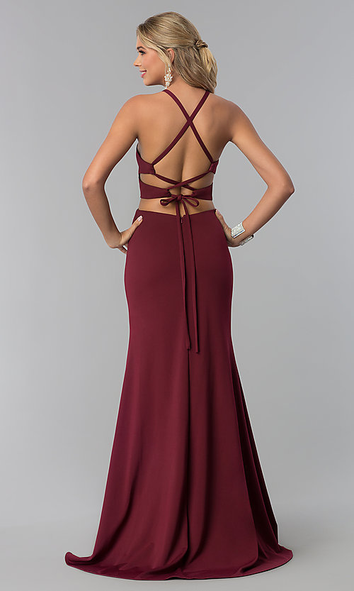 Image of long prom dress with lace-up back. Style: NA-C026 Back Image