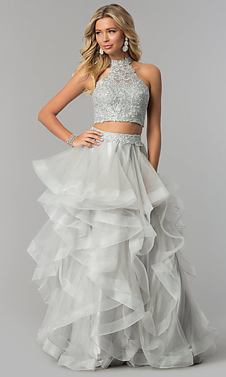Long Two-Piece Prom Dress with Tiered Tulle Skirt