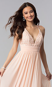 Image of v-neck long prom dress with lace bodice. Style: NA-A070 Detail Image 1