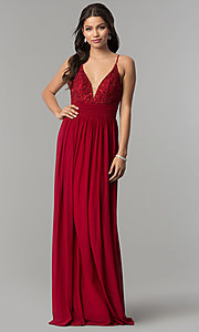 Image of v-neck long prom dress with lace bodice. Style: NA-A070 Detail Image 3