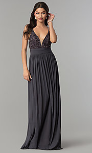 Image of v-neck long prom dress with lace bodice. Style: NA-A070 Detail Image 6