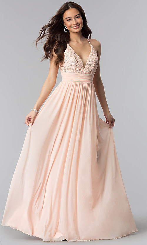 Image of v-neck long prom dress with lace bodice. Style: NA-A070 Front Image