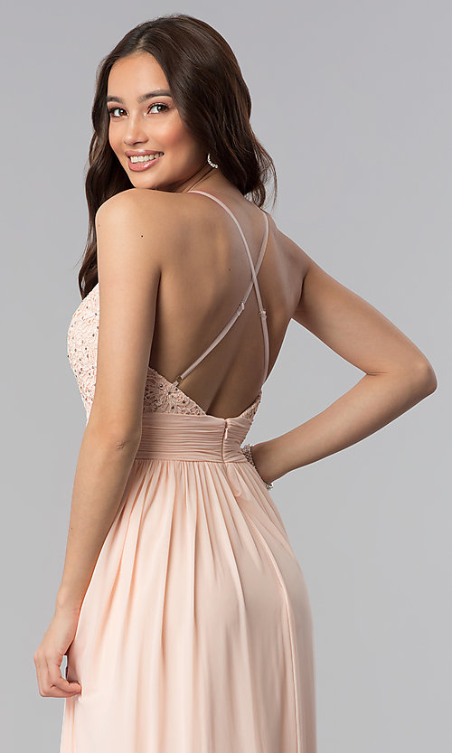 Image of v-neck long prom dress with lace bodice. Style: NA-A070 Detail Image 2