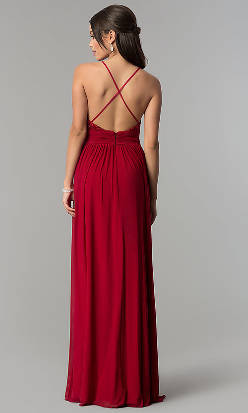 Image of v-neck long prom dress with lace bodice. Style: NA-A070 Detail Image 4