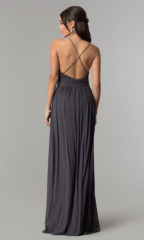Image of v-neck long prom dress with lace bodice. Style: NA-A070 Detail Image 7