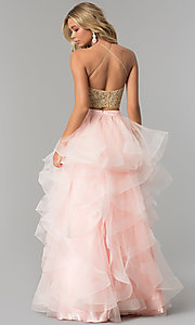 Image of two-piece prom dress with long tiered tulle skirt. Style: NA-A055 Back Image