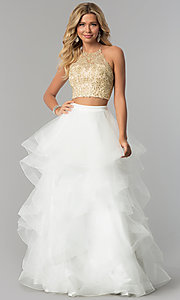 Image of two-piece prom dress with long tiered tulle skirt. Style: NA-A055 Front Image