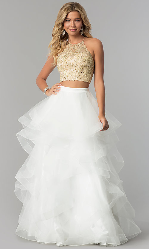 Long Two-Piece Tulle-Skirt Prom Dress - PromGirl
