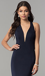 Image of v-neck long mermaid prom dress with strappy back.  Style: NA-C023 Detail Image 1