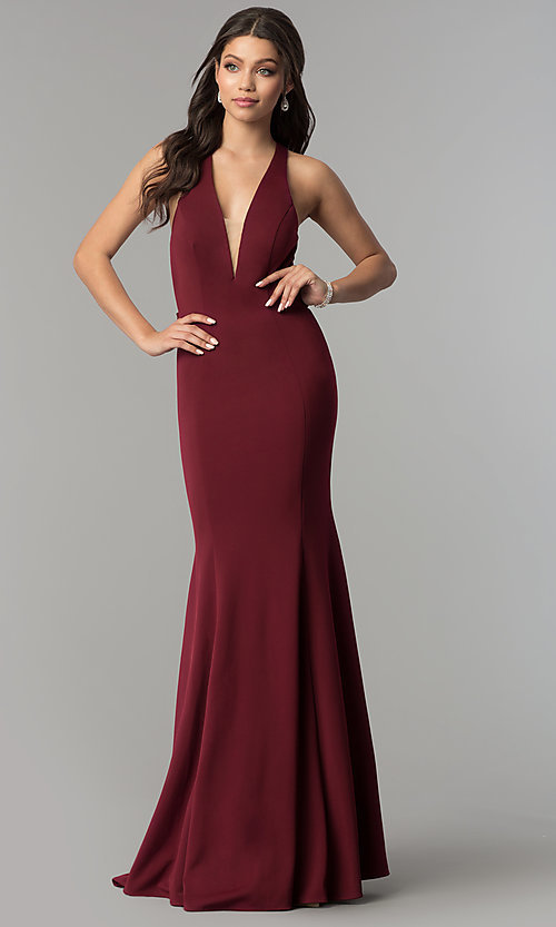 Image of v-neck long mermaid prom dress with strappy back.  Style: NA-C023 Detail Image 3