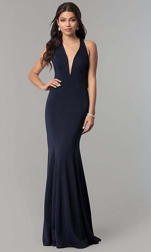 22011a9203c7 Image of v-neck long mermaid prom dress with strappy back. Style: NA