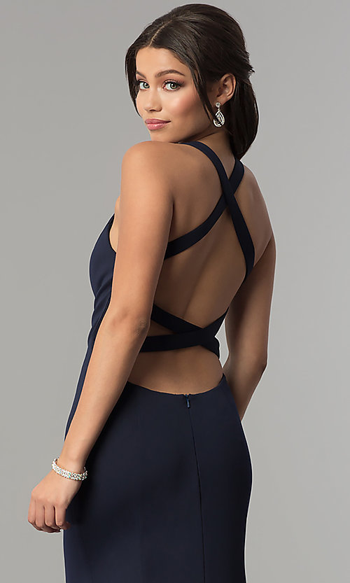 Image of v-neck long mermaid prom dress with strappy back.  Style: NA-C023 Detail Image 2