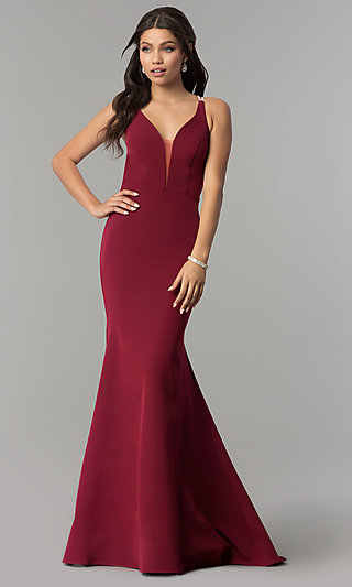 Long Open-Cage-Back V-Neck Prom Dress with Beads