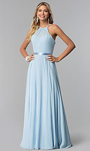 Image of long high-neck chiffon prom dress with corset back. Style: NA-Y102 Detail Image 2