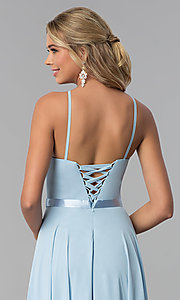 Image of long high-neck chiffon prom dress with corset back. Style: NA-Y102 Detail Image 4