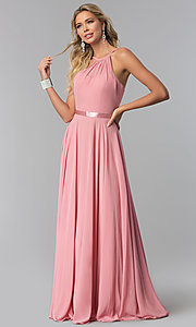 Image of long high-neck chiffon prom dress with corset back. Style: NA-Y102 Detail Image 1