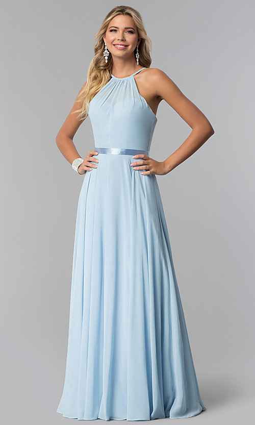 Image of long high-neck chiffon prom dress with corset back. Style: NA-Y102 Detail Image 3