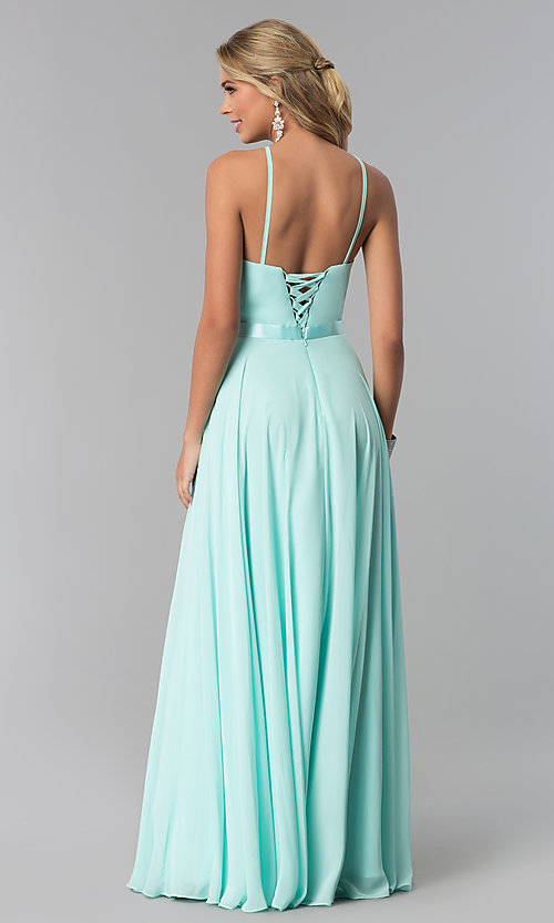 Image of long high-neck chiffon prom dress with corset back. Style: NA-Y102 Detail Image 6