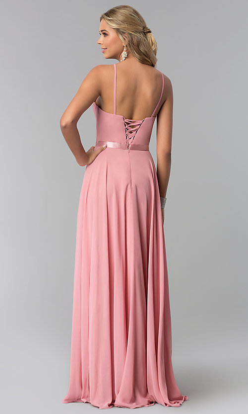 Image of long high-neck chiffon prom dress with corset back. Style: NA-Y102 Back Image