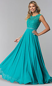 Image of long sleeveless lace-bodice open-back prom dress. Style: NA-Y101 Detail Image 3
