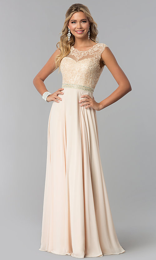 Image of long sleeveless lace-bodice open-back prom dress. Style: NA-Y101 Detail Image 2