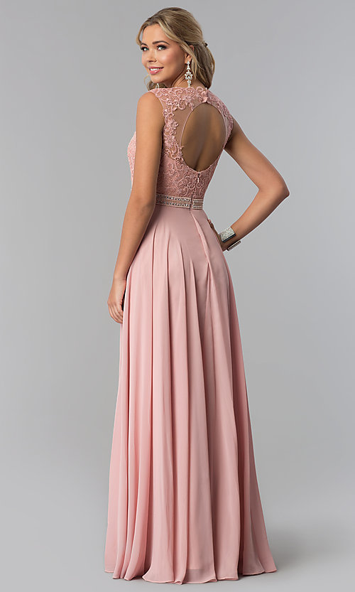 Image of long sleeveless lace-bodice open-back prom dress. Style: NA-Y101 Back Image