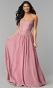 Image of long strapless sweetheart corset-back prom dress. Style: NA-B045 Detail Image 2
