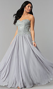 Image of long strapless sweetheart corset-back prom dress. Style: NA-B045 Detail Image 3