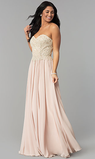 Long Strapless Sweetheart Corset-Back Prom Dress