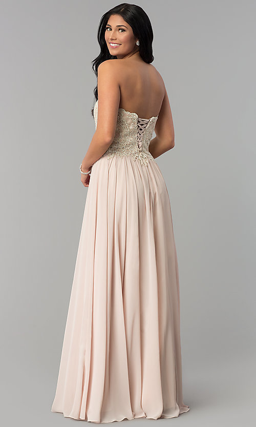 Image of long strapless sweetheart corset-back prom dress. Style: NA-B045 Back Image