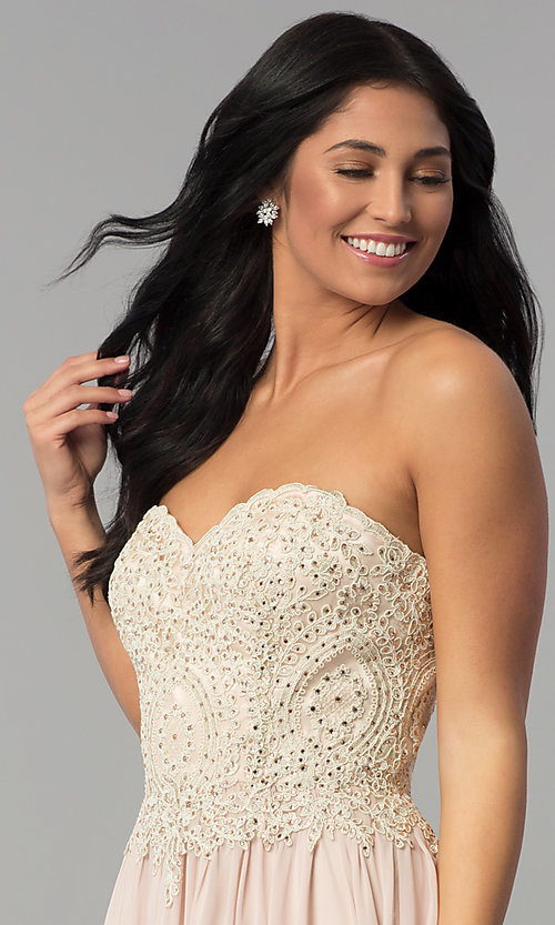 Image of long strapless sweetheart corset-back prom dress. Style: NA-B045 Detail Image 1